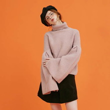 [Another A] trumpet sleeve turtleneck knit top - pink