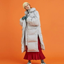 [Another A] long side snap duck down jacket - light grey