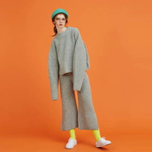 [Another A] lambs wool wide knit pants - grey