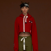 [DIM. E CRES.] (30%세일) Dim. Label Crop Hoodie - Red