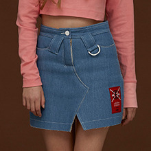 [DIM. E CRES.] (30%세일) Lining Denim Skirt - Light Blue