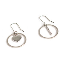 [RUSHOFF] The Unbalance Ring Heart Silver Earring
