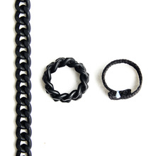 [RUSHOFF]Black Chain & Casual Ring 2Set