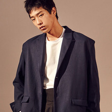 [20%할인] [SALON DE SEOUL] Unisex Single Half Coat - Dark Blue