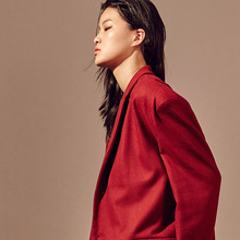 [20%할인] [SALON DE SEOUL] Unisex Single Half Coat - Red