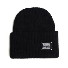 [RUSH OFF] Unisex Black Patch Beanie - Black