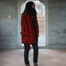 [YORKMINSTER] Embroidery Belt flannel Shirt - Red