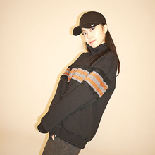 [Double adrenaline syndrome] Stripe halfneck sweatshirt - Brown