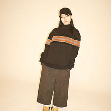 [Double adrenaline syndrome] Wide banding pants - Charcoal