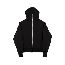 [SSS] Black High Neck Hood Zipup