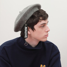 [MAUVE] Strap ring beret -Grey