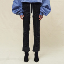 [SLEAZY CORNER] CUFFS SLIM PANTS-STRIPE BLACK