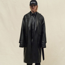 [SLEAZY CORNER] LEATHER OVERSIZE COAT