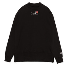 (50%SALE) [Black Hoody]Single Rose Midneck Sweatshirt - Black