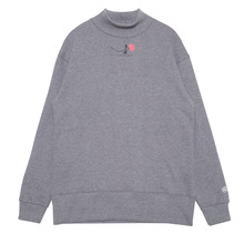 (50%SALE) [Black Hoody]Single Rose Midneck Sweatshirt - Grey