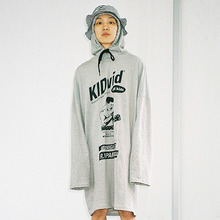 [20% 할인] [AJOBYAJO] Long Hoody T-Shirt (Grey Khaki)
