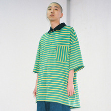 [20% 할인] [AJOBYAJO] Over Stripe PK Shirt (Green)