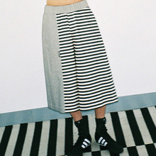 [AJOBYAJO] Stripe Twofold Wide Pants (Black/Ivory)