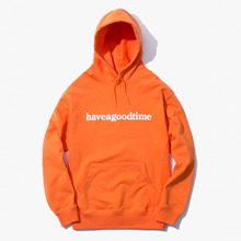 [Have a good time] Side Logo Pullover Hoodie - Orange
