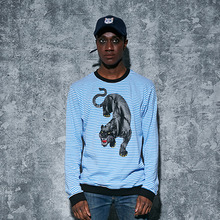 [AROUND80] Black Leopard Stripe Sweat Shirts - Blue