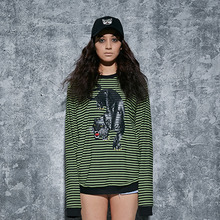 [AROUND80] Black Leopard Stripe Sweat Shirts - Green