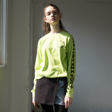 [RUNNINGHIGH] Lettering Long Sleeve Cut&sewn - White,Lime