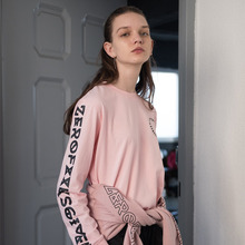 [RUNNINGHIGH] Lettering Long Sleeve Cut&sewn - Pink,Black