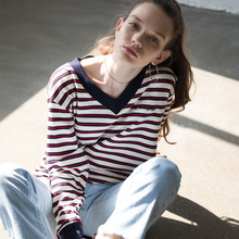 [RUNNINGHIGH] V Neck Stripe Sweat Shirts - Ivory,Navy,Beige