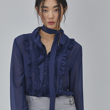 [SALON DE SEOUL] Woman Modern Frill Blouse - Navy
