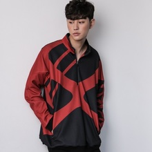 [Do'LM] X logo half zip up - RED/BLACK