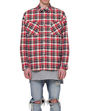 [RCNP] Oversized Flannel Shirts(White/Red)