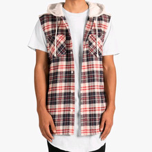 [DOPE] Cut-Off Flannel Hoodie (Off-White)