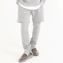[Nar_Yoke] Shorts Layered Zipper Pants - Gray