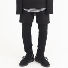 [Nar_Yoke] Shorts Layered Zipper Pants - Black