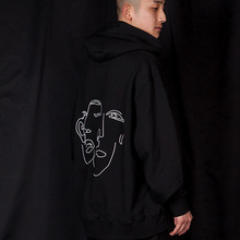 [MUTEMENT]Back Linedrawing Hoodie - BLACK