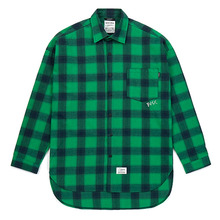 [STIGMA]CROSS OVERSIZED FLANNEL CHECK SHIRTS - GREEN