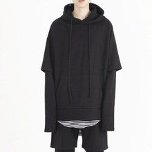 [Nar_Yoke] Overfit Layered Hoodie - Black