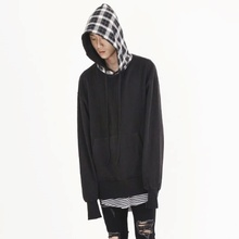 [Nar_Yoke] Black & Check Hoodie - Black