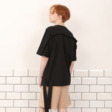 [A PAPER CUT] (30%할인)Side Ribbon Tee - Black