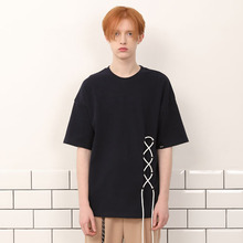 [A PAPER CUT] (30%할인)Lace Up Tee - Navy