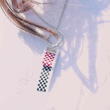 [HAWHA] Checkboard necklace - red