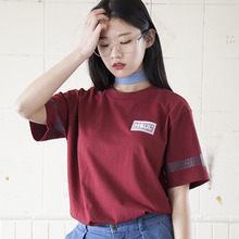 (35%할인)[MSUL] Logo Wappen Color Short Tee - Burgandy