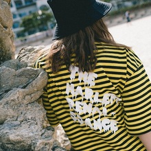 [30%할인][Double adrenaline syndrome] Basic stripe 1/2 T-shirt_YELLOW