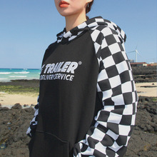[A PIECE OF CAKE] GG Trailer Checkerboard Hoodie_White