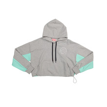 [NBSP] B-girl color-block crop-hoodie - Grey