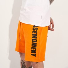 [BASEMOMENT] VT. LOGO SWEAT SHORT - ORANGE