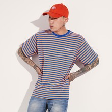 [BASEMOMENT] COLOR STRIPE T-SHIRT - ORANGE/BLUE