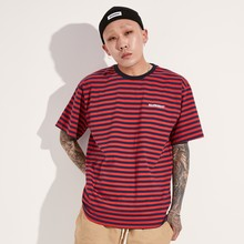 [BASEMOMENT] COLOR STRIPE T-SHIRT - RED/NAVY