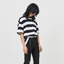 [OY] STRIPE CHAIN T - BK&WH