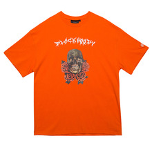 [Black Hoody]Skull Rose 1/2 Tee - Orange